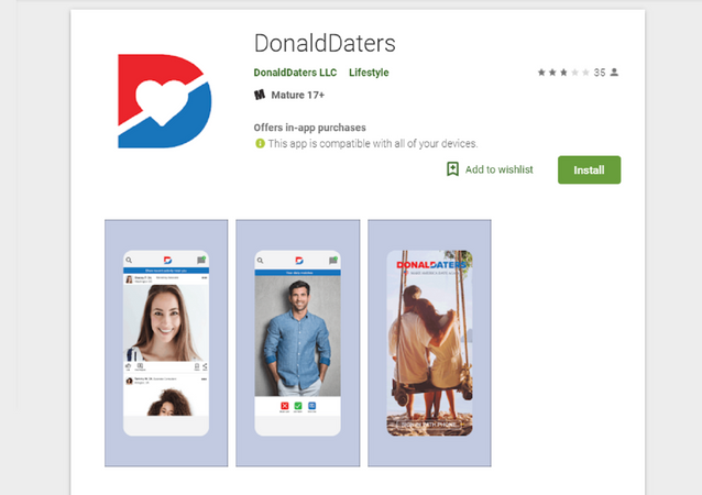 DonaldDaters smartphone application.