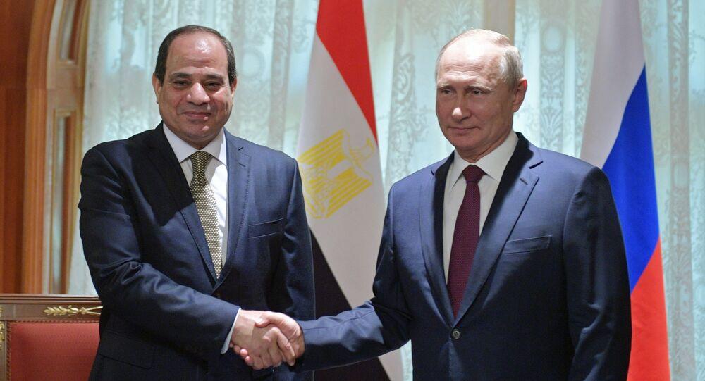 Russian President Vladimir Putin during a meeting with Egyptian President Abdel Fattah al-Sisi
