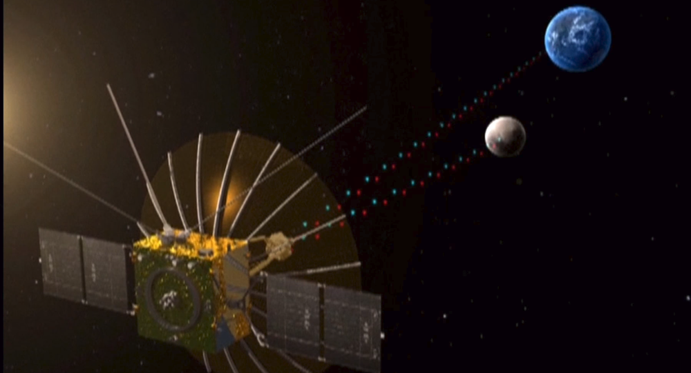 """Queqiao (鹊桥, """"Magpie Bridge""""), the relay satellite for the Chang'e-4 lunar mission, entered the planned halo orbit around the second Lagrangian (L2) point of the Earth-Moon system, about 65,000 km from the Moon, on 14 June 2018, at 03:06 UTC (11:06 Beijing time)."""