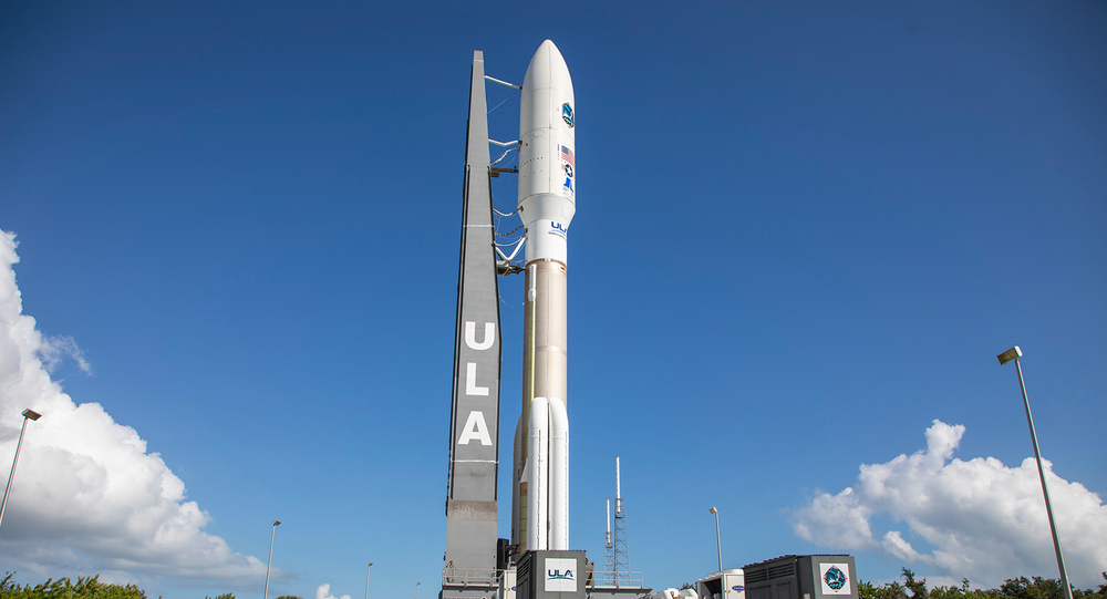 A ULA Atlas V rocket carrying the AEHF-4 mission for the U.S. Air Force is rolled from the Vertical Integration Facility to the launch pad at Cape Canaveral's Space Launch Complex-41.