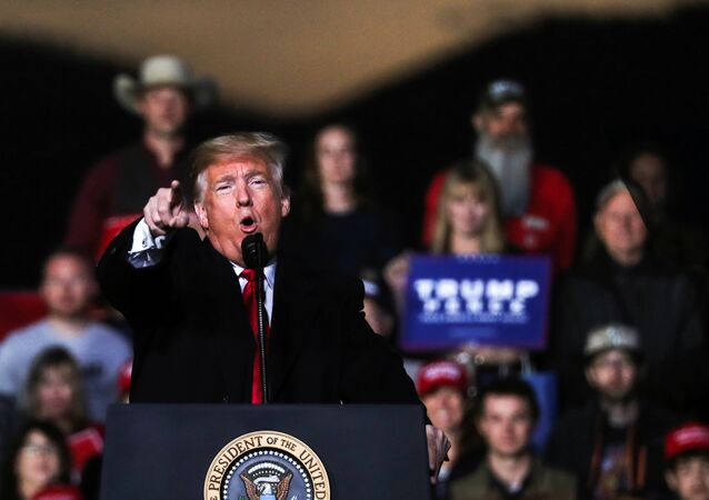 U.S. President Donald Trump speaks during a campaign rally in Montana