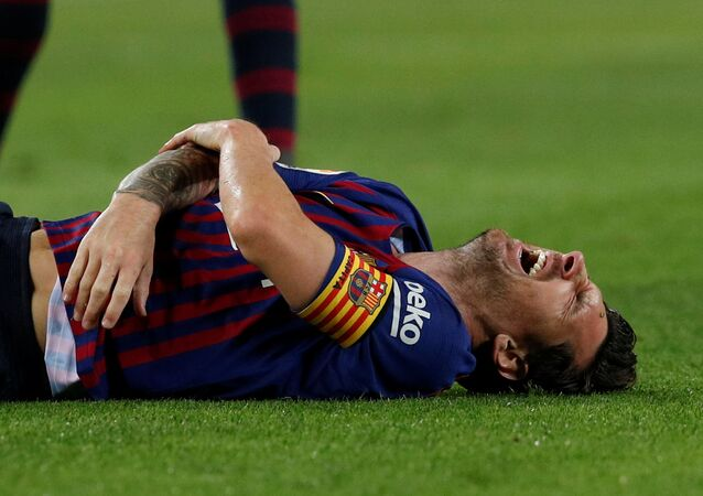 Barcelona's Lionel Messi after sustaining an injury in Barcelona's La Liga clash with Sevilla at Camp Nou on October 20, 2018