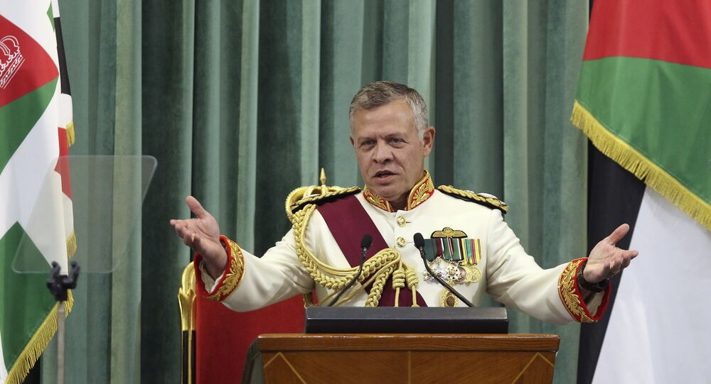 Jordan's King Abdullah II delivers a speech to the parliament, as he opens the third regular session session in the capital Amman on October 14, 2018.