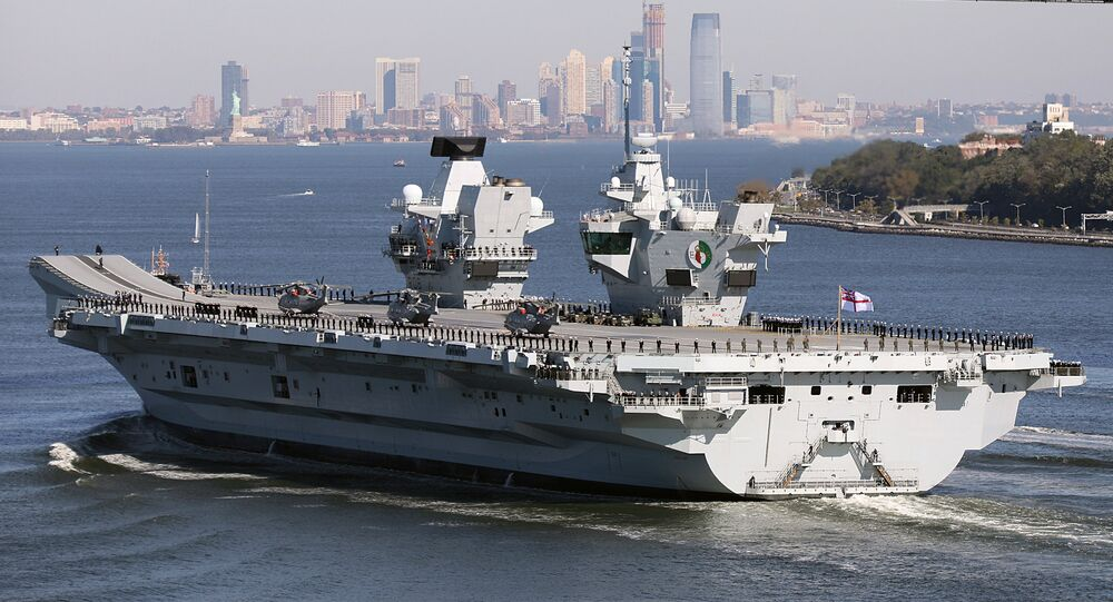 Britain's new aircraft carrier, HMS Queen Elizabeth, arrives in New York, US, October 19, 2018