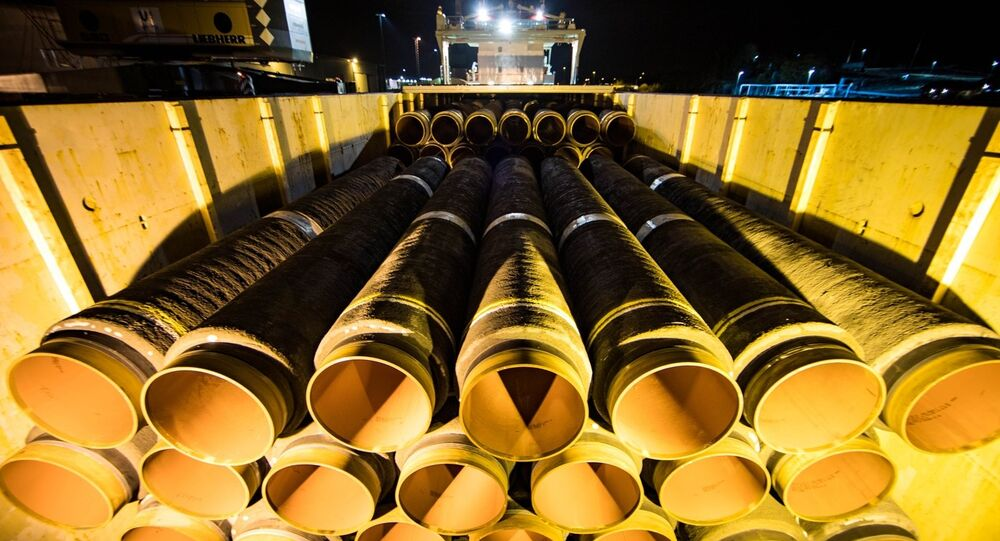 Pipes Designed for the Nord Stream 2 gas pipeline. File photo