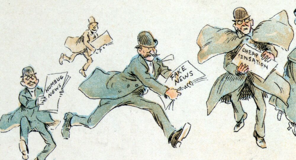 A man with fake news rushing to the printing press