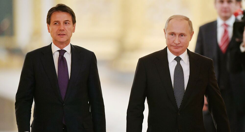 Russian President Vladimir Putin and Italian Prime Minister Giuseppe Conte are holding a joint press conference.