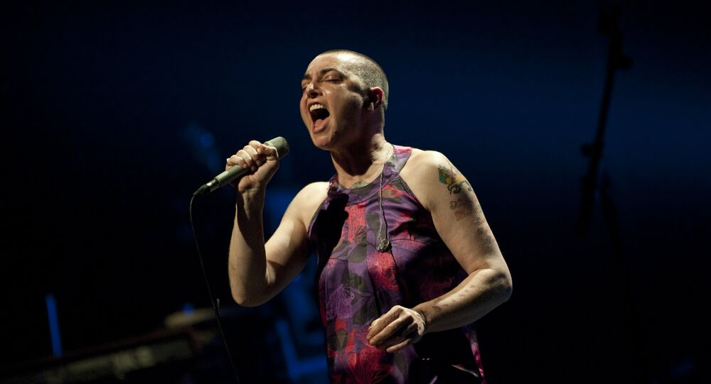 Irish singer-songwriter Sinead O'Connor performs during a concert at the Koninklijk Circus - Cirque Royal, in Brussels on April 12, 2012.