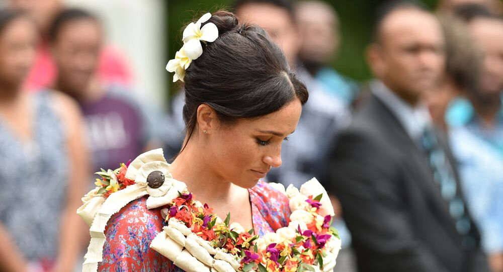 Britain's Meghan, Duchess of Sussex attends an event at the University of the South Pacific in Suva on October 24, 2018.