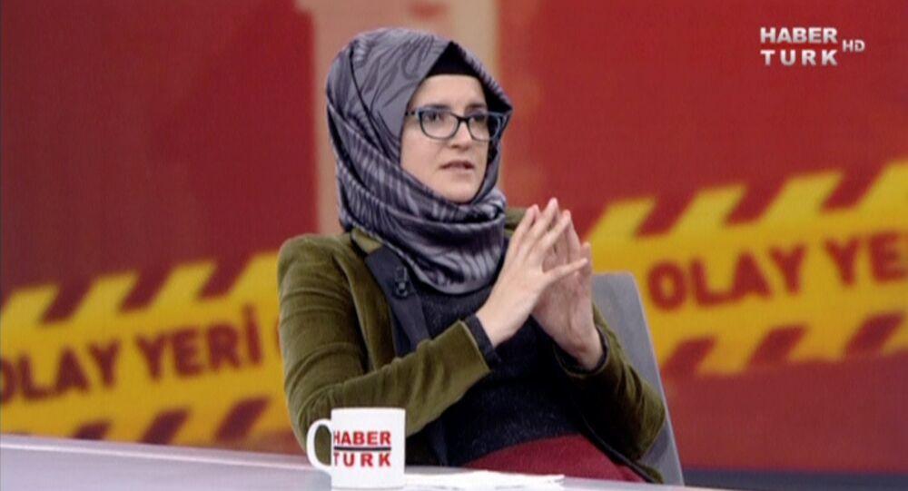 Hatice Cengiz, fiancee of slain Saudi journalist Jamal Khashoggi, during an interview with Turkish broadcaster Haberturk