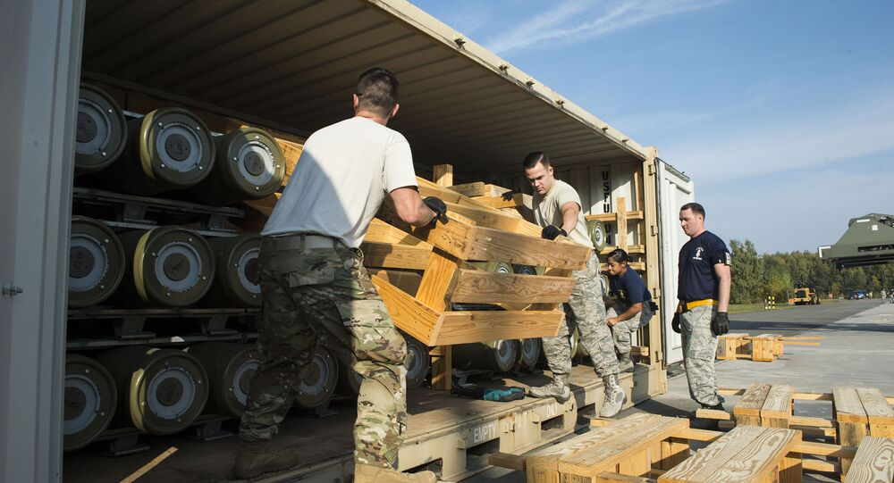 Ramstein Air Base, Germany recieving US ammo shipment