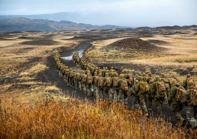 U.S. Marines with the 24th Marine Expeditionary Unit, deployed during Exercise Trident Juncture 18, hike to a cold-weather training site inland in Iceland, October 19, 2018. Picture taken October 19, 2018