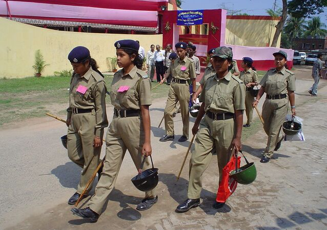 Women police are on duty at Jadavpur, Kolkata, West Bengal