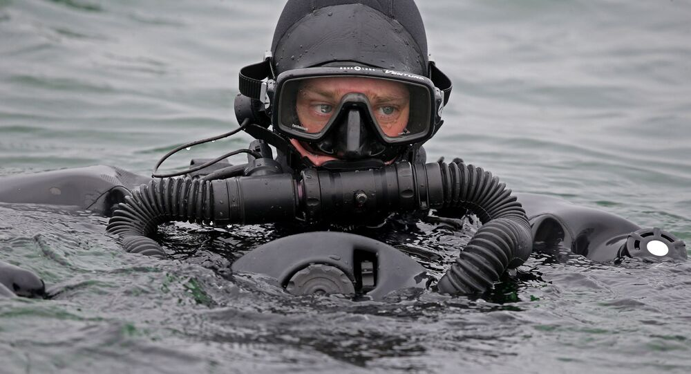 A Russian military diver from the anti-sabotage unit of the Baltic Fleet.