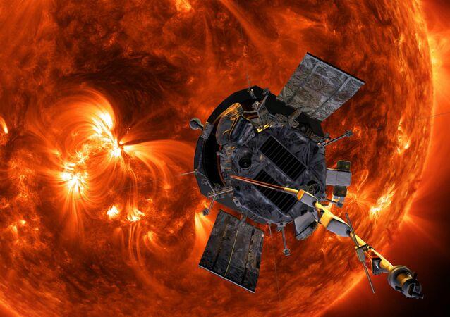 Illustration of Parker Solar Probe approaching the Sun