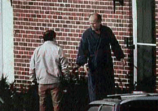 FBI surveillance photograph of the former Winter Hill Gang hierachy in the 1980s. Mob boss, James J. Bulger (right) and lieutenant Stephen Flemmi (left).