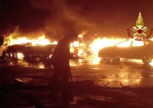 Several hundred brand new Maserati luxury cars have been destroyed in a fire which was caused by flooding in the Italian port of Savona in the Liguria region