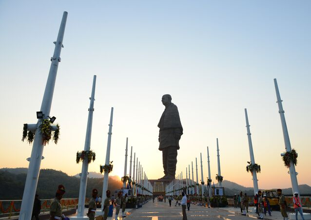 Soldiers stand guard at the statue of Sardar Vallabhbhai Patel, which was unveiled in Gujarat on October 31, 2018