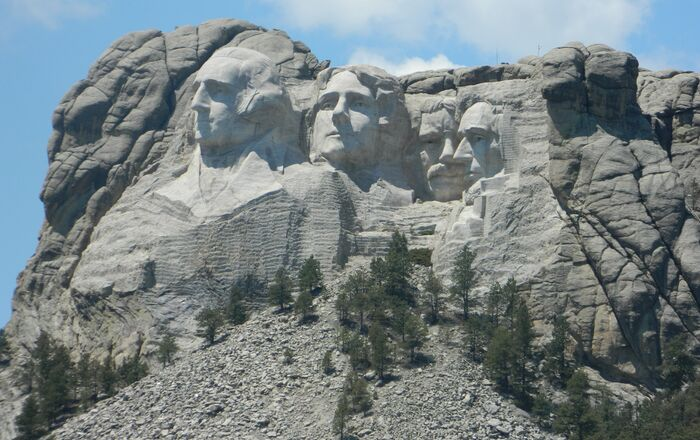 Mount Rushmore in South Dakota, which was carved into the Black Hills (Paha Sapa), considered sacred by the Lakota tribe