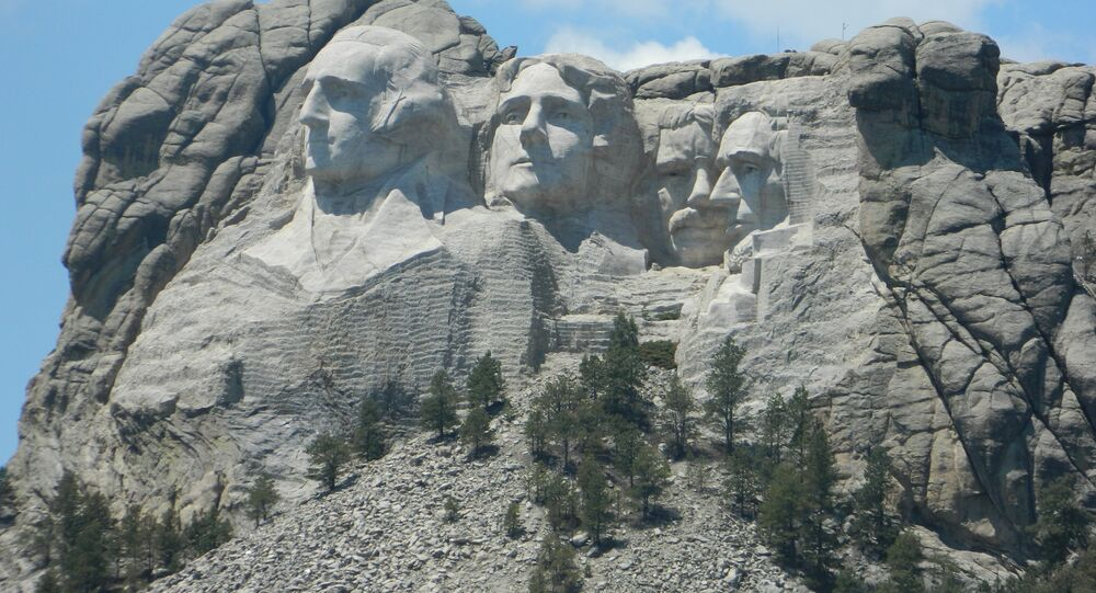 Mount Rushmore in South Dakota which was carved into the Black Hills, considered sacred by the Lakota tribe