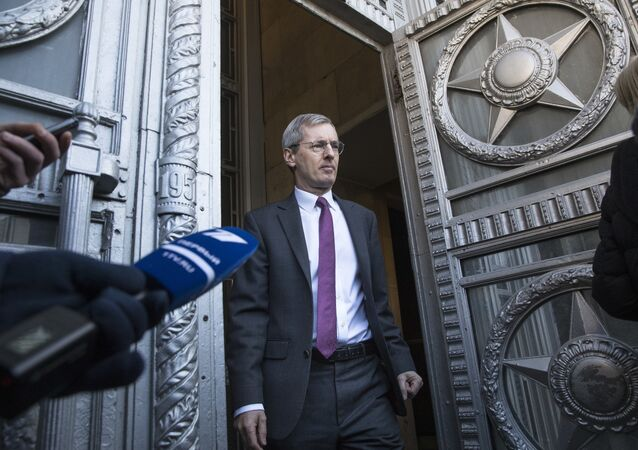 British ambassador to Russia, Laurie Bristow, leaves after a meeting at the Russian foreign ministry building in Moscow, Russia, Saturday, March 17, 2018