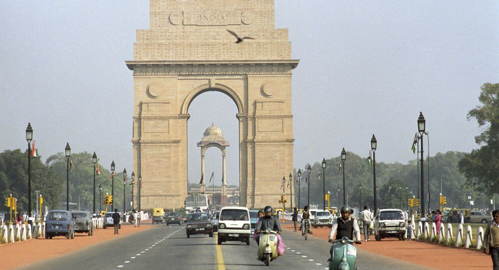 A monument the India Gate in New Delhi.