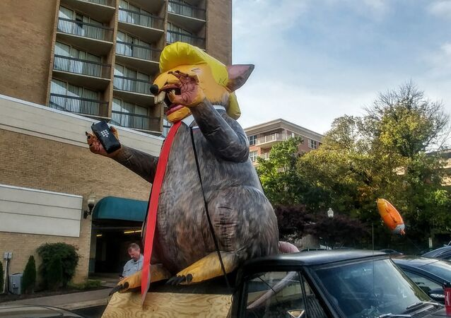 An inflatable figure of a rat made to look like President Donald Trump was left outside a press conference highlighting sexual abuse accusations against special counsel Robert Mueller.