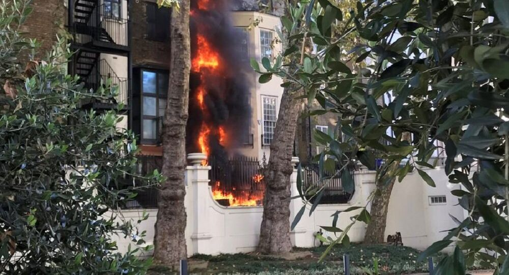 Fire is seen at a building near the Saudi Embassy, in London, Britain, November 2, 2018, in this picture obtained from social media.