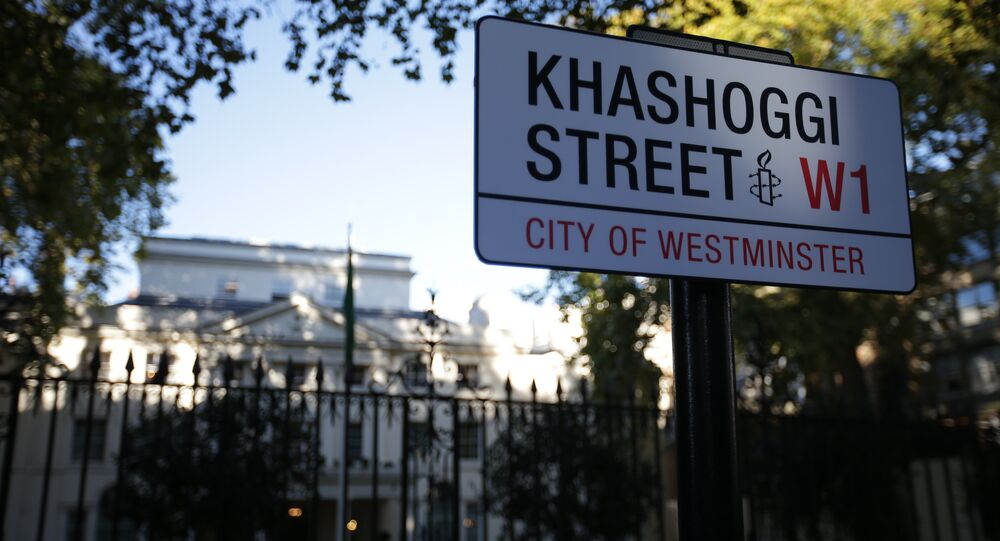 'Khashoggi Street' sign outside Saudi Arabia embassy in London