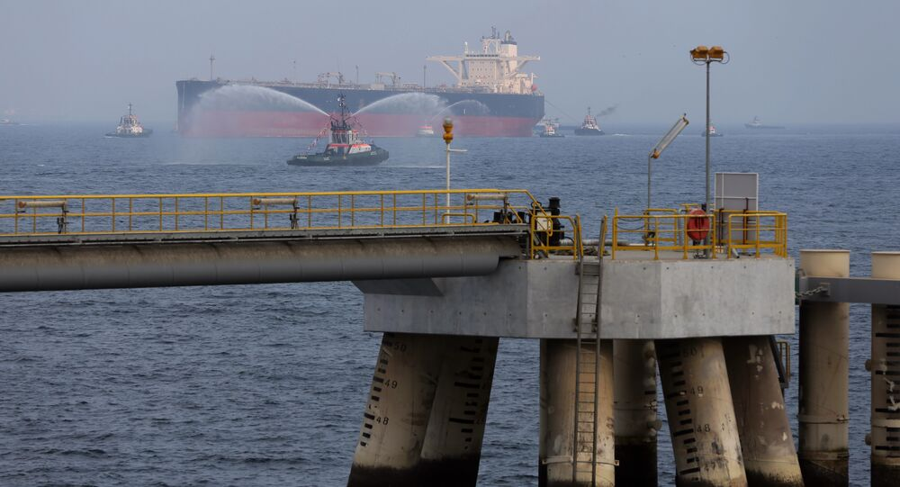 An oil tanker approaches a new jetty during the launch of the new $650 million oil facility in Fujairah, United Arab Emirates