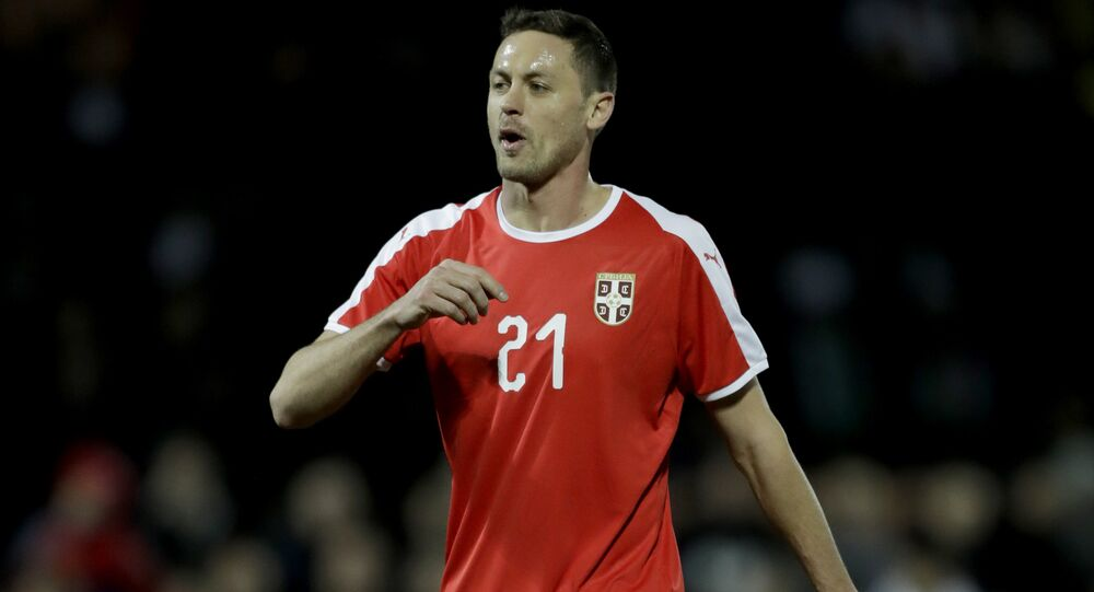 Serbia's Nemanja Matic during the international friendly soccer match between Serbia and Nigeria at The Hive Stadium in London, Tuesday, March 27, 2018.
