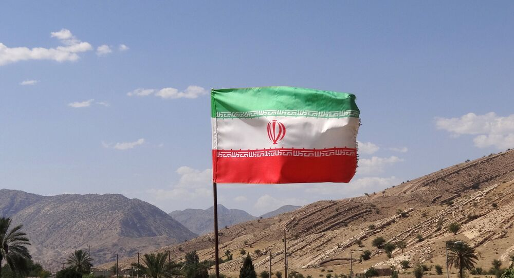 Iranian Flag over Archaeological Site - Bishapur