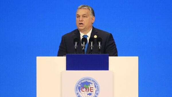 Hungarian Prime Minister Viktor Orban speaks at the opening ceremony of the first China International Import Expo (CIIE) in Shanghai, Monday, Nov. 5, 2018. - Sputnik International