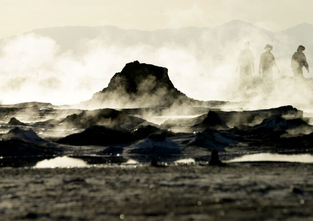 In this April 29, 2015, photo, steam rises from geothermal mud pots near the banks of the Salton Sea near Niland, Calif., evidence of the region's vast geothermal activity. Often called the The Accidental Sea, because it was created when the Colorado River breached a dike in 1905, Salton Sea now faces a looming calamity as coastal Southern California clamors for more water.