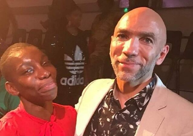 Anthony Lennon, right, with actress and writer Michaela Coel