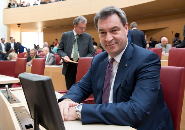 Bavaria's State Premier Markus Soeder sits in the plenary hall prior to an extraordinary session of the Bavarian parliament on November 6, 2018 in Munich, southern Germany