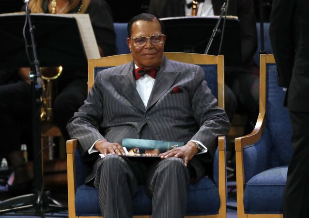 Louis Farrakhan attends the funeral service for Aretha Franklin at Greater Grace Temple, Friday, Aug. 31, 2018, in Detroit. Franklin died Aug. 16, 2018 of pancreatic cancer at the age of 76