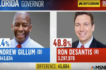 MSNBC screengrab showing governor's race 'results'.