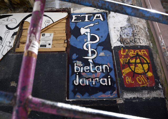 Picture shows a graffiti representing the logo of the armed Basque separatist group ETA in the northern Spanish Basque village of Bermeo