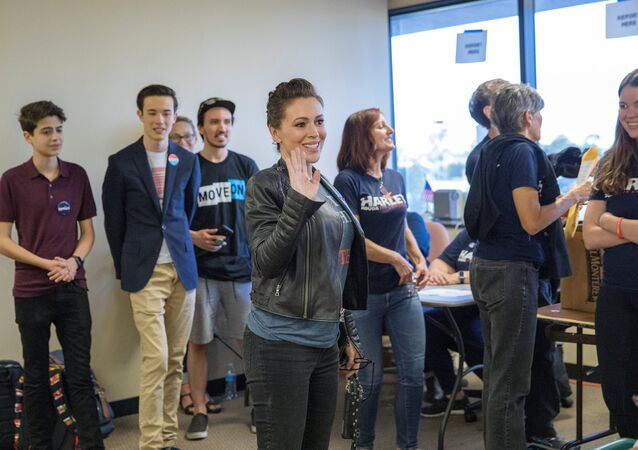 Actor Alyssa Milano visits volunteers at a field office for Congressional District 48 Democratic candidate Harley Rouda on the day of midterm elections, Huntington Beach, California,U.S. November 6, 2018