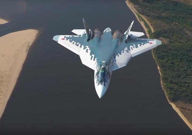 Su-57 test flight over Astrakhan, Russia.