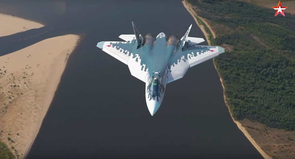 Su-57 test flight over Astrakhan, Russia.