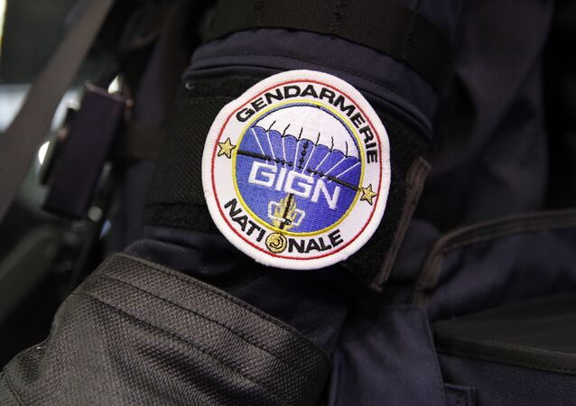 A badge of the GIGN (National Gendarmes Intervention Group) an elite French force