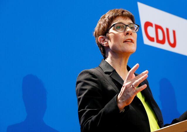 Chancellor Angela Merkel's protege, Annegret Kramp-Karrenbauer, addresses a news conference to promote her candidacy to succeed the German leader as chief of their conservative Christian Democrats (CDU) in Berlin, Germany, November 7, 2018
