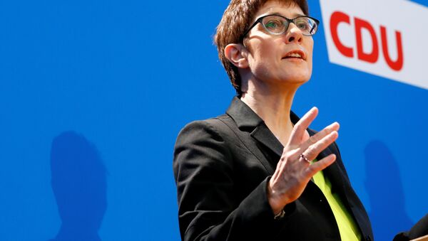 Chancellor Angela Merkel's protege, Annegret Kramp-Karrenbauer, addresses a news conference to promote her candidacy to succeed the German leader as chief of their conservative Christian Democrats (CDU) in Berlin, Germany, November 7, 2018 - Sputnik International