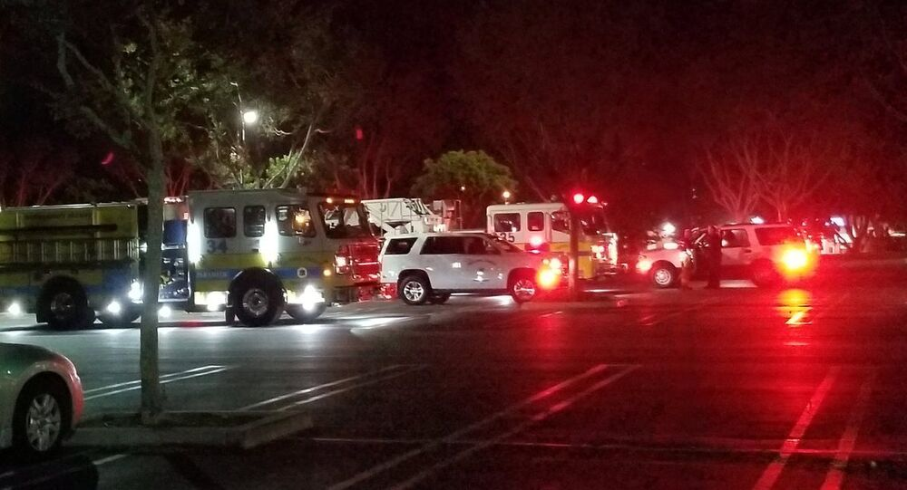 First responders are seen outside Borderline Bar and Grill in Thousand Oaks, California, U.S. November 7, 2018 in this image obtained from social media on November 8, 2018