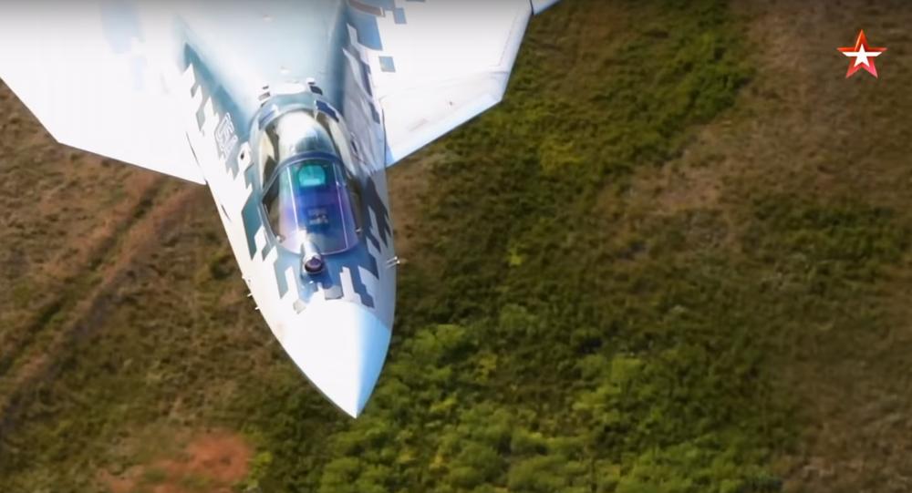 Su-57 performing super-low flight. Still from Zvezda broadcast.