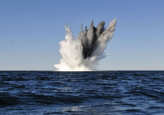 Explosion of mine in the sea