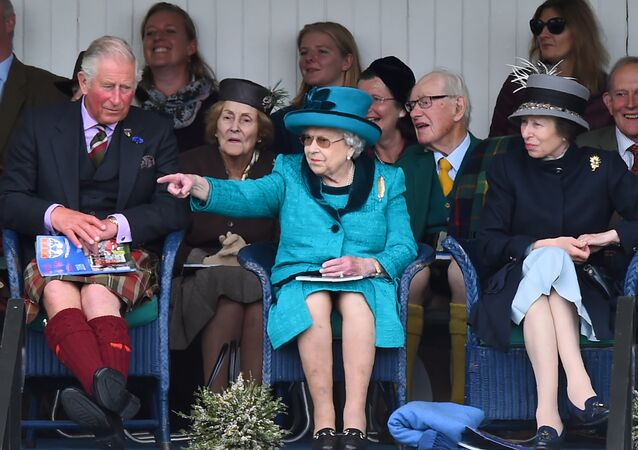 Prince Charles, Prince of Wales, Britain's Queen Elizabeth II and Britain's Princess Anne