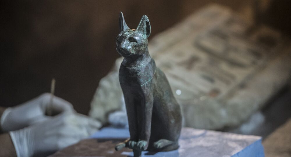 Bronze Ancient Egyptian Sitting Cat Statue